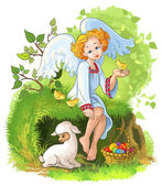 Little cute angel girl sitting on grass with an Easter basket and playing with chickens and lamb — Stock Vector