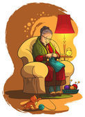 Grandmother sitting in armchair and knitting. A lifestyle, house and family theme — Stock Vector