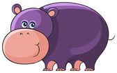 Hippo. Cute cartoon wild animal character — Stock Vector