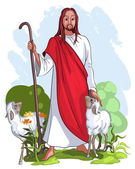 Jesus and sheep. Christian and easter theme — Stock Vector