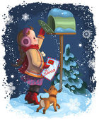 Little girl and her puppy posting a letter to Santa. Christmas holiday vector illustration — Stock Vector