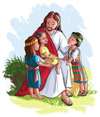 Jesus and children isolated on white — Stock Vector
