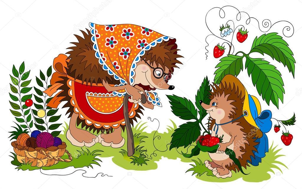 矢量插画的刺猬小幸福家庭