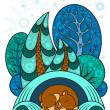 A winter forest, trees in the snow, the bear is sleeping in a warm den — Stock Vector #29599703