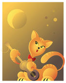 Red cat playing guitar in the moonlight. Valentines day theme — Stock Vector