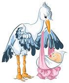 Cute cartoon stork with baby girl newborn — Stock Vector