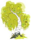 Vector cartoon birch tree isolated on white background — Stock Vector