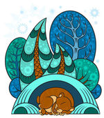 A winter forest, trees in the snow, the bear is sleeping in a warm den — Stock Vector