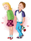 Boy greets the girl with the holiday and gives her flowers — Stockvector