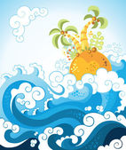Tropical island in the ocean in decorative style — Stock Vector