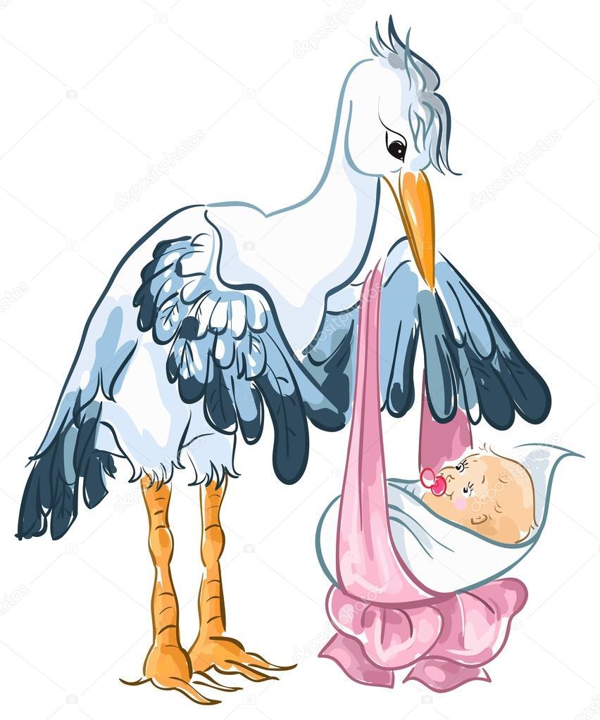 Cigogne dessin anim mignon avec nouveau n fille b b image vectorielle aura 29599663 - Cigogne dessin ...