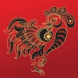 Year of the Rooster. Chinese horoscope animal sign — Stock Vector