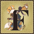 Vintage fairytale book alphabet. Letter F. Brer Rabbit and Brer Fox. The tales of Uncle Remus by Joel Chandler Harris — Stock Vector