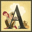 Vintage fairytale book alphabet. Letter A. Aladdin and the Wonderful Lamp a story from the arabian nights — Stock Vector
