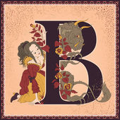 Vintage fairytale book alphabet. Letter B. Beauty and the Beast by Jeanne-Marie Leprince de Beaumont — Stock Vector