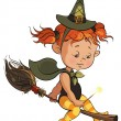 Stock Vector: Cute Halloween witch learning to fly on a broom isolated on white