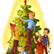 Kids Decorating a Christmas Tree. Holiday background — ベクター素材ストック