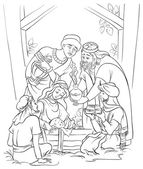 Jesus, Mary, Joseph and the Three Kings. Coloring page — Stock Vector