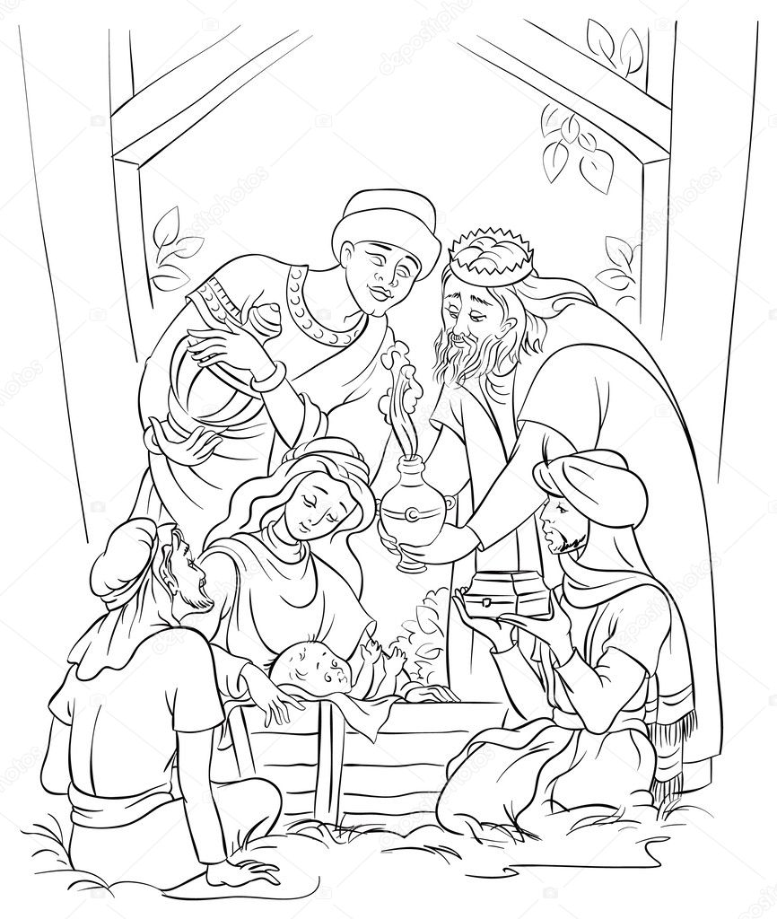 Coloring Pages Mary And Joseph Coloring Pages jesus mary joseph and the three kings coloring page stock vector