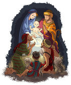 Nativity Scene with Jesus, Mary, Joseph and shepherds — Stock Vector