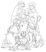 Outlined illustration of a Nativity scene - Jesus, Mary, Joseph and Shepherds — Stock Vector
