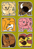 Set of cartoon domestic farm animal stickers — Stok Vektör