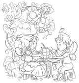 Black and white fairytale illustration two little cute elves lunch in the garden cafe — Stock Vector
