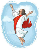Ascension of Jesus raising hands in sky, Easter theme — Stock Vector