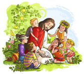 Vector illustration for Jesus reading the Bible with Children — Vetor de Stock