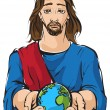 Portrait of Jesus holding the hands planet Earth with white background — Stock Vector