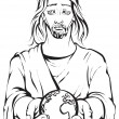 Black and white portrait of Jesus holding the hands planet Earth. Colouring page — Stock Vector