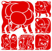 Chinese horoscope animals set. Pig, Rat, Ox, Tiger, Cat, Dragon — Stock Vector