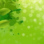 Fondo de naturaleza verde con desenfoque blob y hoja — Vector de stock