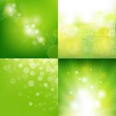Green Eco Background With Blur Set — Stock Vector