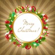 Stock Vector: Merry Christmas Frame With Vintage Background