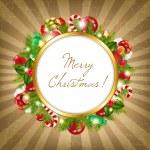 allegra cornice di Natale con sfondo d'epoca — Vettoriale Stock