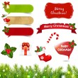 Big Christmas Icons Set With Border - Stock Vector