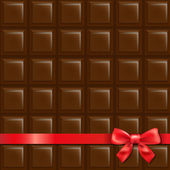 Chocolate Background With Red Bow — Stock Vector