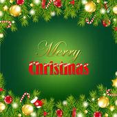 クリスマスの花輪とレトロなカード — ストックベクタ