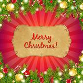 Fondo rojo navidad con sunburst con árbol de abeto — Vector de stock