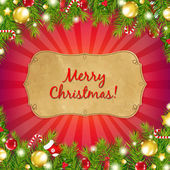 Red Christmas Background With Sunburst With Fir Tree — 图库矢量图片