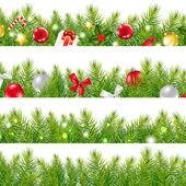 Grandes bordas definidas com árvore de Natal — Vetor de Stock