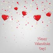 用红色的心的快乐情人节卡片。 — 图库矢量图片