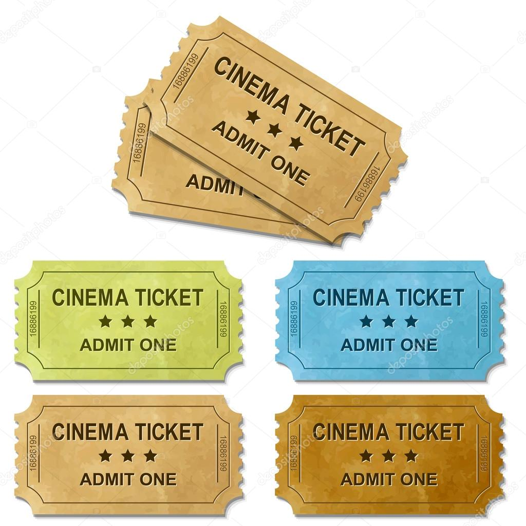 Cinema Ticket With Gradient Mesh, Isolated On White Background, Vector Illustration — Stock Vector #18785947