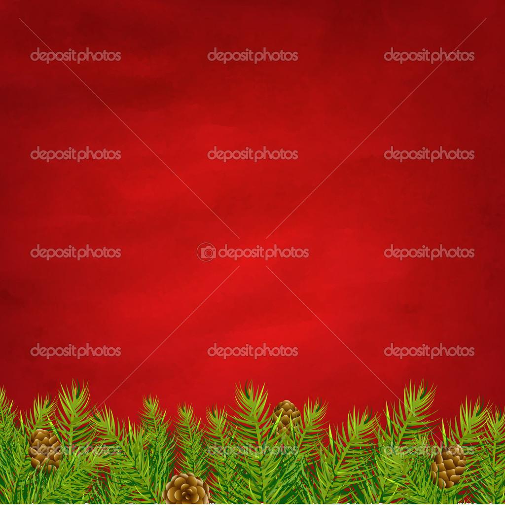 渐变网格,矢量插画复古红色背景和杉木树 — 矢量图片作者 barbaliss
