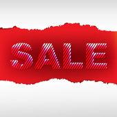 Locandina di vendita strappato rosso — Vettoriale Stock