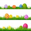 Big Green Grass Set With Flowers And Easter Eggs — Stock Vector