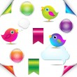 Colorful Birds Set With Ribbon And Speech Bubble — Stock Vector
