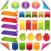 Fitas coloridas e conjunto de rótulo — Vetor de Stock