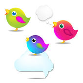 Color Birds Set With Speech Bubble — Stock Vector